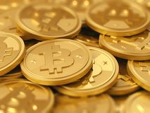 Uma pilha do cryptocurrency - bitcoins Fotos de Stock Royalty Free