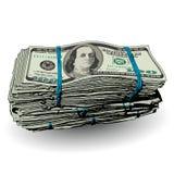Uma pilha gorda de 100 notas de dólar Imagem de Stock