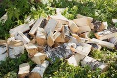 Uma pilha pequena de logs desbastados do vidoeiro foto de stock