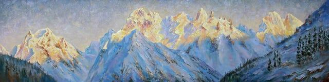 Uma pintura a óleo na lona Picos dourados da região de Elbrus ilustração do vetor