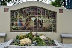 Uma pintura mural da telha da vinha a maior dos mundos imagens de stock