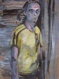 Uma pintura original Retrato de um homem em um t-shirt amarelo em um fundo abstrato ilustração stock