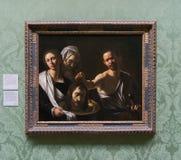 Uma pintura por Michelangelo Merisi da Caravaggio no National Gallery em Londres imagens de stock royalty free