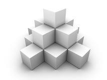 Uma pirâmide feita de caixas cinzentas similares Ilustração Stock