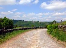 Uma pista cobbled do país que curva-se para baixo no vale arborizado distante cercado por paredes de pedra secas e por campos ver fotografia de stock royalty free