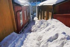 Condições nevado em Porvoo/Borgå Fotografia de Stock Royalty Free