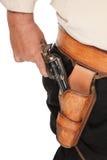Uma pistola armada retirou de um holster de couro Imagens de Stock Royalty Free
