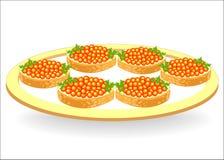 Uma placa com sanduíches bonitos P?o branco com manteiga e o caviar vermelho Alimento saboroso, saudável e nutritivo Decoração do ilustração royalty free