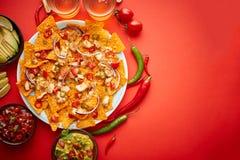 Uma placa de nachos deliciosos da tortilha com molho de queijo derretido, galinha grelhada foto de stock