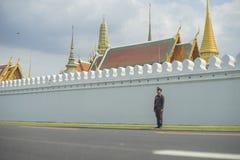 Uma polícia que está na frente da estrada grande do palácio Imagens de Stock Royalty Free