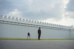 Uma polícia que está na frente da estrada grande do palácio Fotografia de Stock