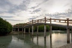 Uma ponte bonita para conectar a casa de campo da ilha a uma praia artificial que esteja sendo construída fotografia de stock