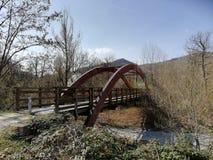 Uma ponte de madeira com um cofre-forte de madeira semicircular imagem de stock