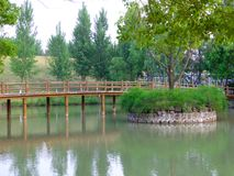 Uma ponte de madeira sobre um lago Imagem de Stock Royalty Free