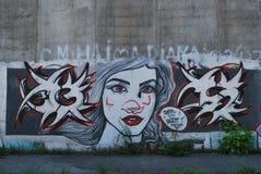 Uma ponte destruída com arte dos grafittis da rua Fotografia de Stock