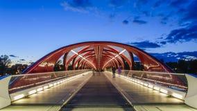 Uma ponte no rio da curva em calgary fotografia de stock royalty free