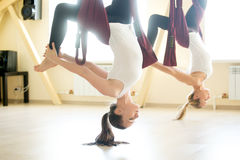 Uma pose equipada com pernas do chakrasana na rede imagens de stock royalty free