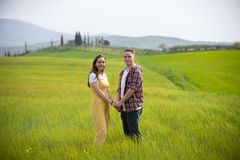 Uma posição feliz nova dos pares em um prado verde que guarda as mãos fotografia de stock