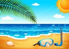 Uma praia com um sol shinning ilustração royalty free