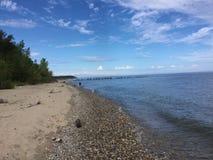 Uma praia em Milwaukee Wisconsin Fotos de Stock