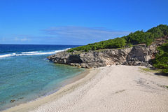Uma praia próximo o Trou famoso dArgent em Rodrigues Island Foto de Stock