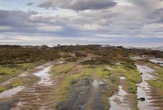 Uma praia só e abandonada no norte de Escócia foto de stock