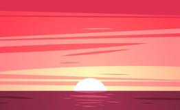 Uma praia tropical do por do sol Ilustração do vetor