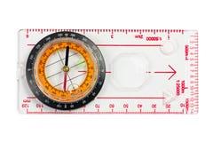 Uma régua com o compasso isolado em um fundo branco Fotos de Stock