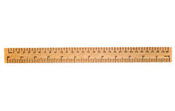 Uma régua de madeira de 30 cm. Fotos de Stock