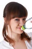 Uma rapariga encantador em um branco Fotos de Stock