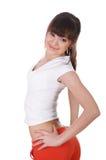 Uma rapariga encantador em um branco imagens de stock royalty free