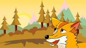 Uma raposa dos desenhos animados que olha através da paisagem Imagens de Stock