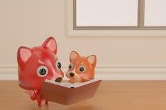 Uma raposa e um filho dos desenhos animados que leem um livro, ilustração 3D Fotos de Stock