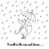 Uma raposa pequena anda na chuva com um guarda-chuva e as botas Imagens de Stock