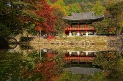 Uma reflexão da vizinhança no templo de Baegyangsa Imagem de Stock