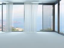Uma rendição 3D da sala de visitas branca vazia com cortinas Imagem de Stock