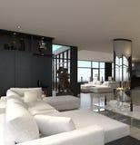 Interior moderno da sala de visitas   Sótão do projeto ilustração royalty free