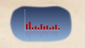 Uma rendição 3d impressionante de um gráfico de barra com linhas coloridas deslocamento nas vermelhas e flutuação para cima e par ilustração royalty free