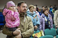 Uma reunião festiva e um concerto em 9 podem 2017 na região de Kaluga de Rússia Imagem de Stock