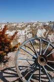 Uma roda velha. Vale de Uchisar. Turquia fotografia de stock