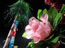 Uma Rosa cor-de-rosa bonita com folha verde fotografia de stock