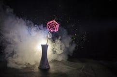Uma rosa murchando significa amor perdido, divórcio, ou um relacionamento mau, mortos aumentou no fundo escuro foto de stock