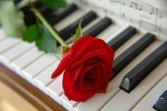 Chaves de Rosa vermelha e de piano II Imagens de Stock