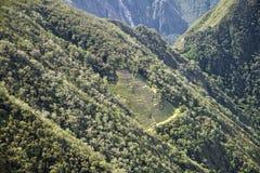 Uma ruína na maneira de alcançar Machu Picchu perdeu a cidade Foto de Stock