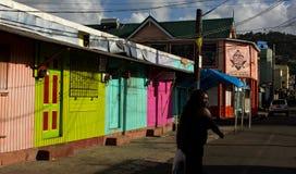Uma rua em Castries, a capital de St Lucia Foto de Stock Royalty Free