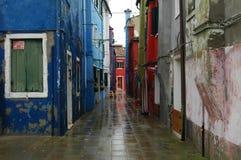 uma rua em Grécia Mykonos Imagem de Stock