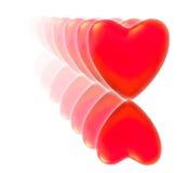 Uma série de corações vermelhos com reflexão. Fotografia de Stock