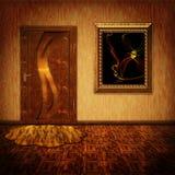 Uma sala com uma porta e uma pintura ilustração do vetor