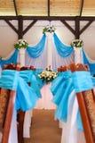 Uma sala de banquete do restaurante decorada para um banquete de casamento Fotografia de Stock Royalty Free