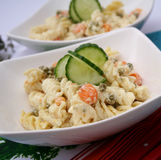 Uma salada fresca dos macarronetes Fotos de Stock Royalty Free